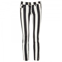 Mid-rise coated striped jeans