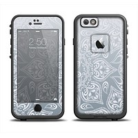 The Intricate White and Gray Vector Pattern Apple iPhone 6 LifeProof Fre Case Skin Set