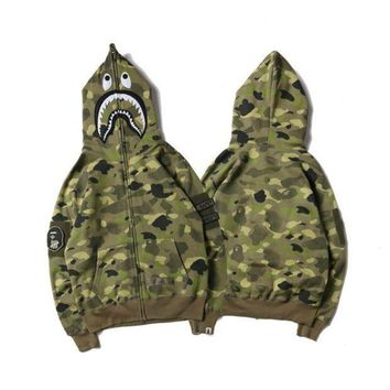 DCCKHQ6 BAPE SHARK Fashion Casual Long Sleeve Sweater Zipper Hoodie