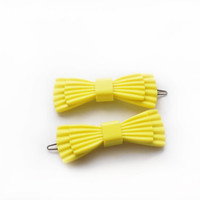 Vintage 1960s Set of two italian plastic/celluloid lemon yellow bow Hair Clips Barrettes