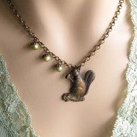 Squirrel Necklace with Three Pearl Acorn Nuts by TheBrassHussy