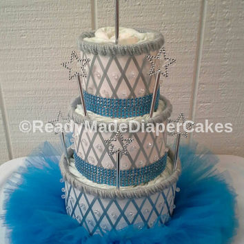 Blue and Grey Princess Themed Baby Shower Decor 3 Tier Elegant Beaded TuTu Diaper Cake Table Centerpiece Baby Girl Gift