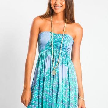 Tiare Hawaii Seaside Short Dress Blue Marine