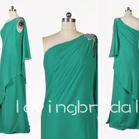 2014 Fashion One Shoulder Long A-line Apple Green Chiffon Party Evening/Prom/Bridesmaid Dresses