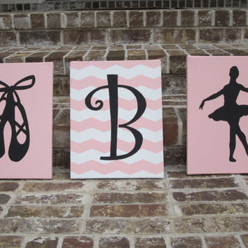 Personalized Dancer / Ballerina Girl, Slippers & Initial on Chevron Stripes - Paintings - Wall Decor Art  - You customize! - Ballet Dancer