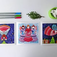 Christmas Angels Greeting Card Set. 3 illustrated folded christmas cards. Angel whimsical illustration. Pink and Blue Christmas watercolor.