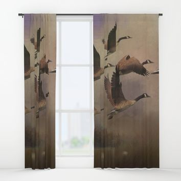 Wild Geese at Dawn Window Curtains by Theresa Campbell D'August Art