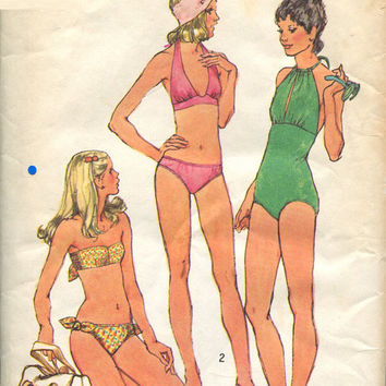 Simplicity 5694 Sewing Pattern Retro 70s Disco Style Bathing Suit Bikini One Two Piece Swimsuit Beach Swim Halter Bust 34