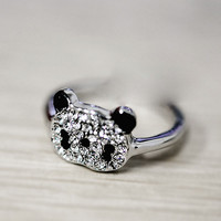 Silver Diamond Adjustable Panda Ring