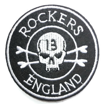 "ROCKERS ENGLAND 13 Skull Iron On Embroidered Patch 2.6""/7cm"