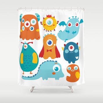 Aliens and monsters pattern Shower Curtain by Maria Jose Da Luz
