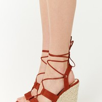 Faux Suede Lace-Up Espadrille Wedges