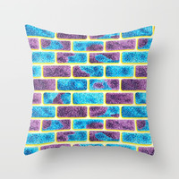 Unique Space bricks pattern Throw Pillow by maria_so