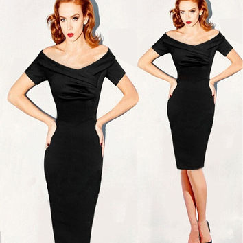 Womens Summer Elegant Vintage Pinup Retro Rockabilly Off Shoulder Ruched Party Cocktail Sheath Wiggle Dress = 1956541252