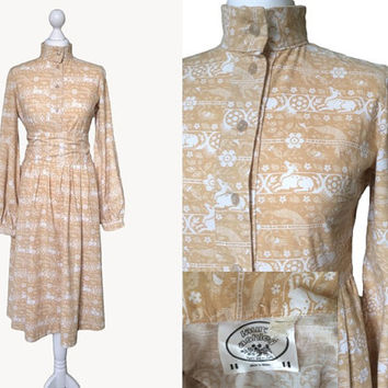 Vintage 1970's Laura Ashley Dress - Dyers And Printers - Made On Wales - Pale Ochre Sand - Hunting Ground Wild Cat And Deer Print