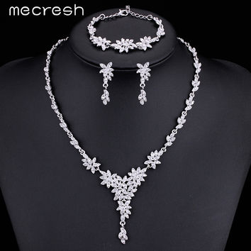 Mecresh Leaf Crystal Brides Jewelry Sets Silver Color Rhinestone Necklace Sets Wedding Jewelry for Women MTL433+MSL204