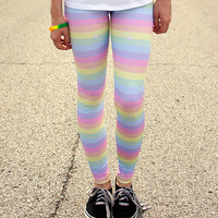 Pastel Rainbow Stripe Sparkle Leggings