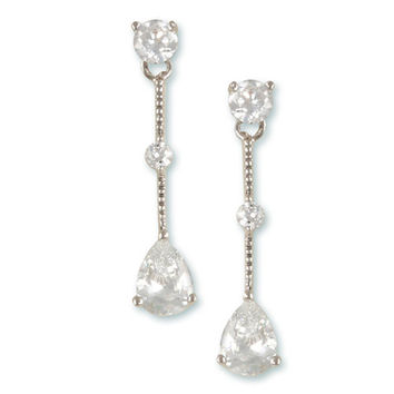 Rhodium finish drop Earrings with Teardrop and round CZ Diamonds.