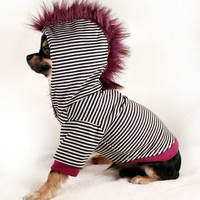 Dog Clothes SMALL Black stripes w Purple punk by PetitDogApparel