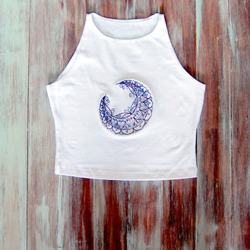White Moon Crop Top-Yoga Top-Boho Crop Top-Sleeveless Crop Top-Embroidered American Apparel Moon Crop Top