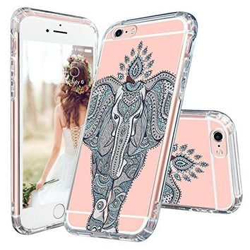 iPhone 6s Plus Case, iPhone 6 Plus Cover, MOSNOVO Cute Mint Henna Elephant Clear Design Back Hard Case [Scratch Resistant + Shockproof] TPU Bumper Protection Cover for Apple iPhone 6/6s Plus 5.5 inch