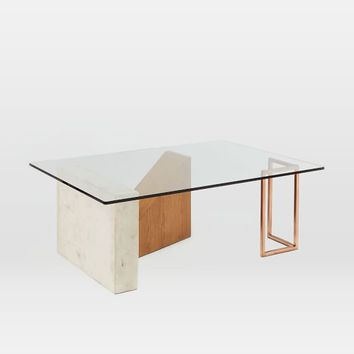 Bowie Coffee Table - Glass / Natural Oak / Brass / Marble