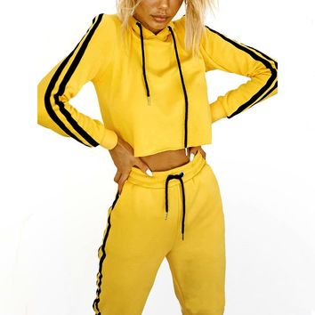 Women's Long-Sleeve Hoodie Two-Piece Tracksuit