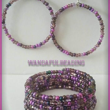 Royal Amethyst Mix Memory Wire Bracelet & Earrings Set - $16.00 - Handmade Jewelry, Crafts and Unique Gifts by WandaFulBeading