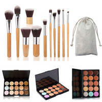 15 Colors Contour Face Cream Makeup Concealer Palette + 11PC Bamboo Brush Set  Womens Gift + Freee Shipping