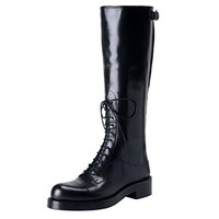 Prada Women's Black Leather Riding Boots Shoes