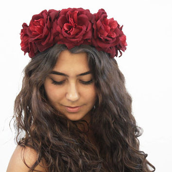 Burgundy Red Rose Crown - Holiday Flower Crown, Christmas Hair Accessory, Gift Idea, Rose Floral Crown, Frida Kahlo, Oxblood, Holiday Hair