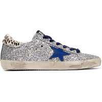 Golden Goose Deluxe Brand - Super Star glittered leather and calf hair sneakers