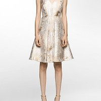 brocade v-neck fit + flare dress | Calvin Klein
