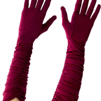 Long Evening Gloves - Ruched Burgundy Satin Formal Gloves