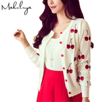 Makuluya Autumn spring women Sweater cherry Embroidery Pattern all-match lady jacket coat Long Sleeve Short Knitting Cardigan QW