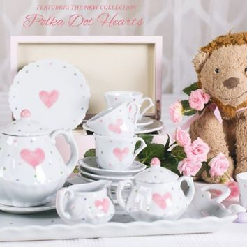Polka Dot Heart 18pc Children's Porcelain Tea Set
