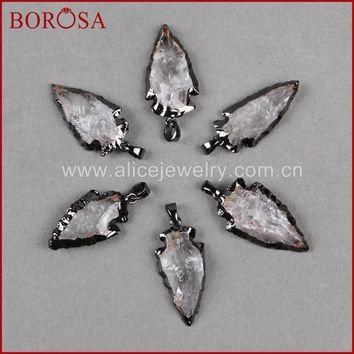 BOROSA Fashion Arrow Pendants ,New Crystal quartz arrowhead pendants Black Gun Metal Color Quartz Druzy Necklace Pendants B509