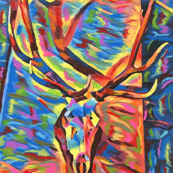 elk skull abstract art painting original animal anatomy colorful acrylics nature modern contemporary artwork By Elizavella Bowers