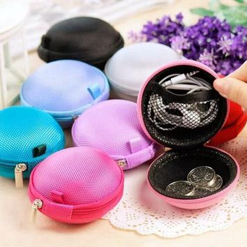 Mini Round Silicone Coin Purse Bag For Earphone SD Cards Cable Cord Wire Storage Key Wallet