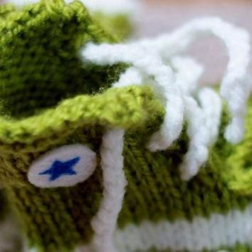 ICIKGQ8 punk rock baby booties green converse inspired slippers