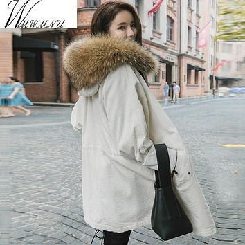 Winter Jacket Women natural/faux Large Raccoon Fur Parkas 2017 Corduroy Winter jackets Lady Thick Fake Lambswool Lining Coats