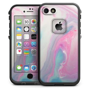 Marbleized Soft Pink and Blue Paradise - iPhone 7 LifeProof Fre Case Skin Kit