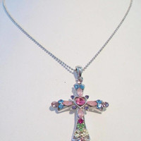 Multi Color Cross Pendant Necklace Colorful Religious Costume Jewelry Fashion Accessories For Her