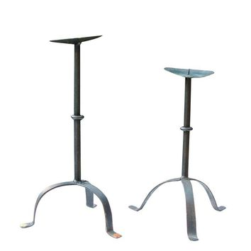 Pre-owned Antique French Wrought Iron Candlesticks - Set of