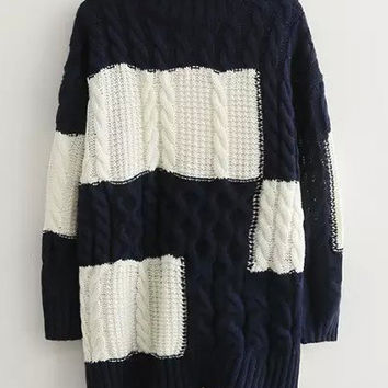 Navy White High Neck Cable-knit Loose Sweater