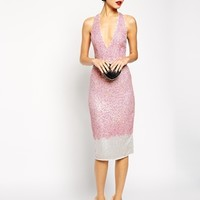 ASOS RED CARPET Premium Embellished Midi Dress With Plunge Front at asos.com