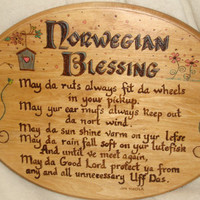 Wood burned Norwegian Blessing on Basswood Canvas and Colored with PrismaColor pencils
