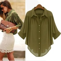 Army Green Chiffon Stylish Blouse