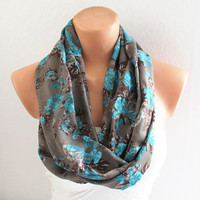 Infinity Scarf - Loop Scarf - Circle Scarf - Brown Scarf - Cotton Scarf with Blue Flowers