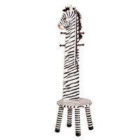 Teamson Kids- Safari Stool with Coat Rack - Zebra-W-1945Z